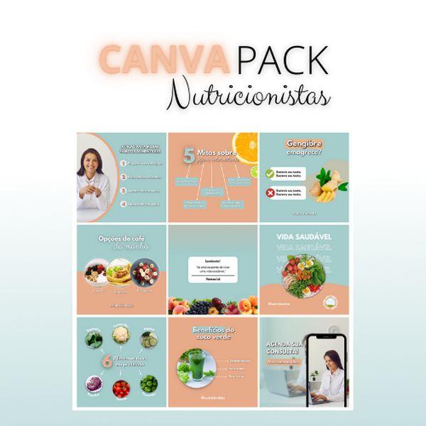 Imagem principal do produto Canva Pack Nutricionistas | 270 Templates Profissionais + Bônus