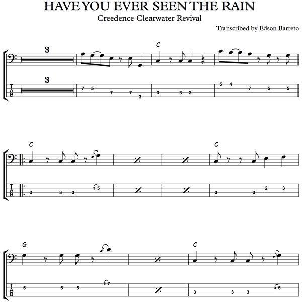 Imagem principal do produto HAVE YOU EVER SEEN THE RAIN (Creedence) Bass Score & Tab Lesson