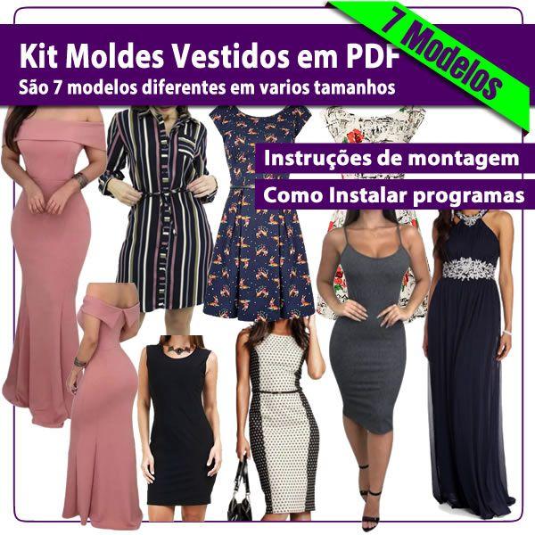 Imagem principal do produto Kit com 7 Modelos moldes de vestidos em PDF