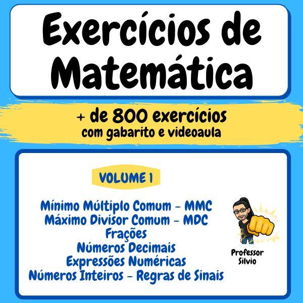 Imagem principal do produto Exercícios de Matemática - Professor Silvio - Volume 1