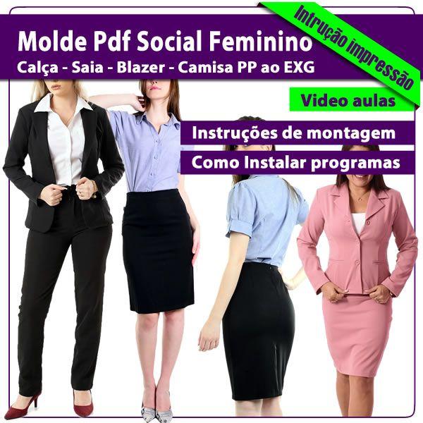 Imagem principal do produto Kit Moldes Pdf Social Feminino do PP ao EXG