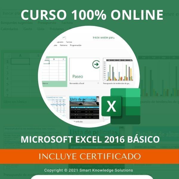Imagem principal do produto Curso completo 100% Online de Microsoft Excel 2016 Básico incluye libro y certificado