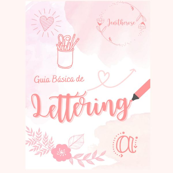 Imagem principal do produto Guía Básica de Lettering por Jenitherose, incluye curso Zoom Personalizado