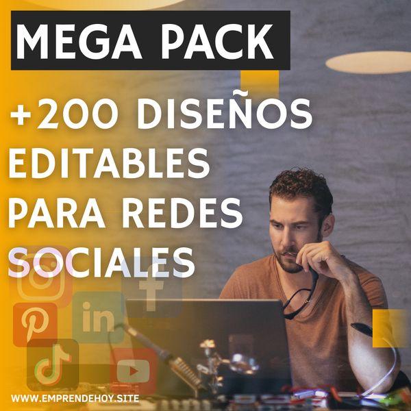 Imagem principal do produto +200   Diseños Editables para Redes Sociales MegaPack