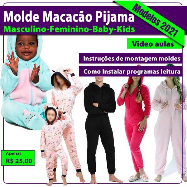 Imagem principal do produto Molde Macacão Pijama Masculino-Feminino-Kids-Baby