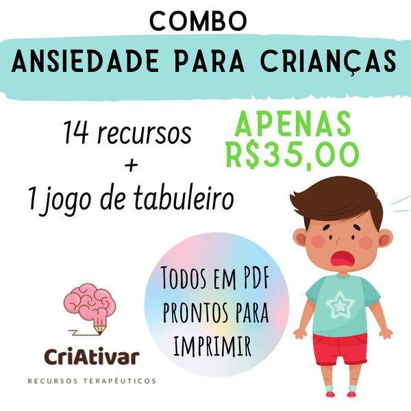 Imagem principal do produto Combo Ansiedade para Crianças - CriAtivar Recursos Terapêuticos