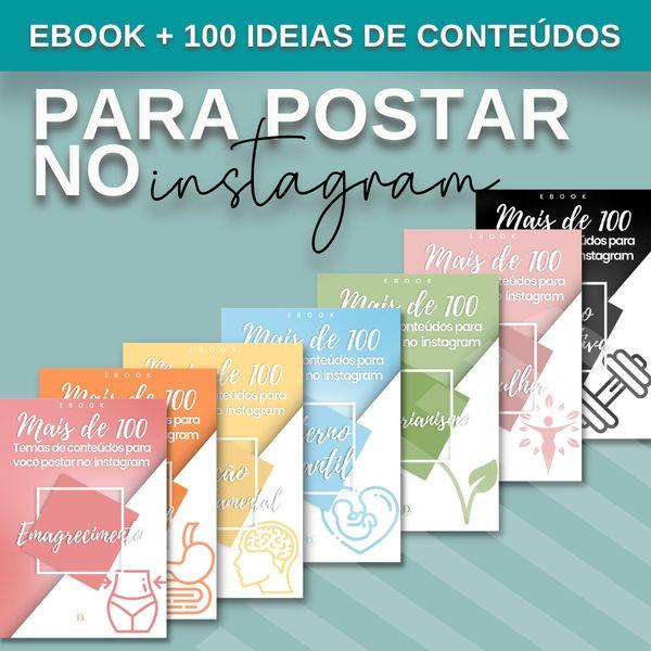 Imagem principal do produto COMBO 8 E-books com mais de 800 ideias de conteúdos sobre Nutrição (comportamental, emagrecimento, esportiva, materno Infantil, saúde da mulher, vegetarianismo, clínica e saúde intestinal) para postar nas redes sociais.