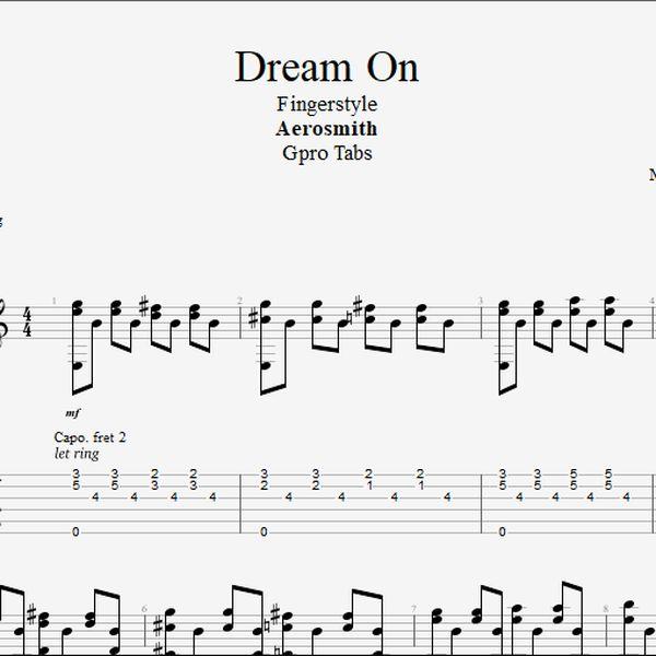 Imagem principal do produto (Aerosmith) Dream On - Fingerstyle tab PDF