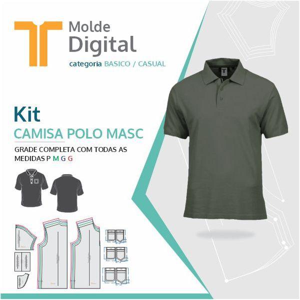Imagem principal do produto kit molde Digital Camisa Polo Masc