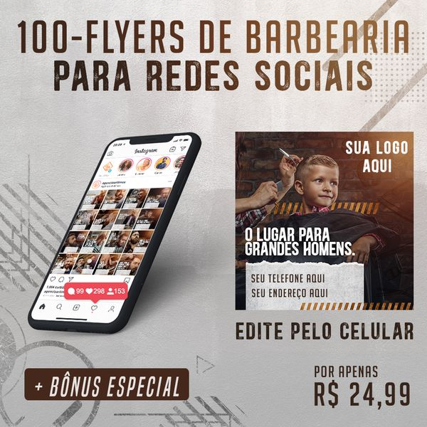 Imagem principal do produto 100 FLYER DE BARBEARIA PARA REDES SOCIAIS!