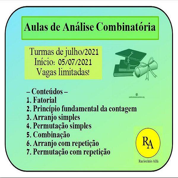Imagem principal do produto Aulas de Análise Combinatória