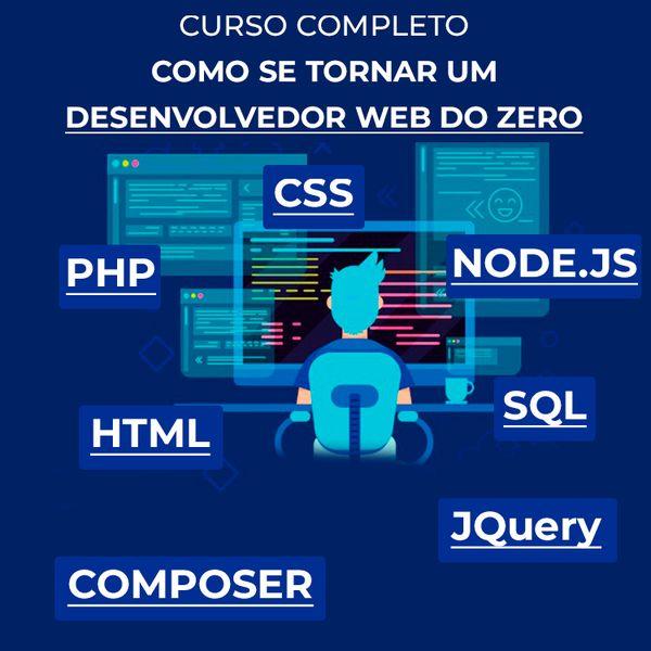 Imagem principal do produto Aprenda PHP 8, HTML, CSS e SQL do zero ao Full Stack em 2021