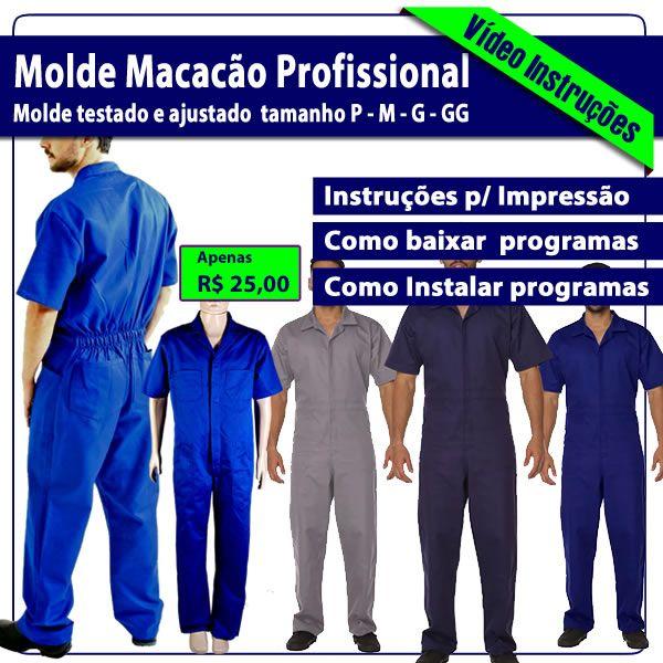 Imagem principal do produto Molde Pdf Macacão Profissional P-M-G-GG