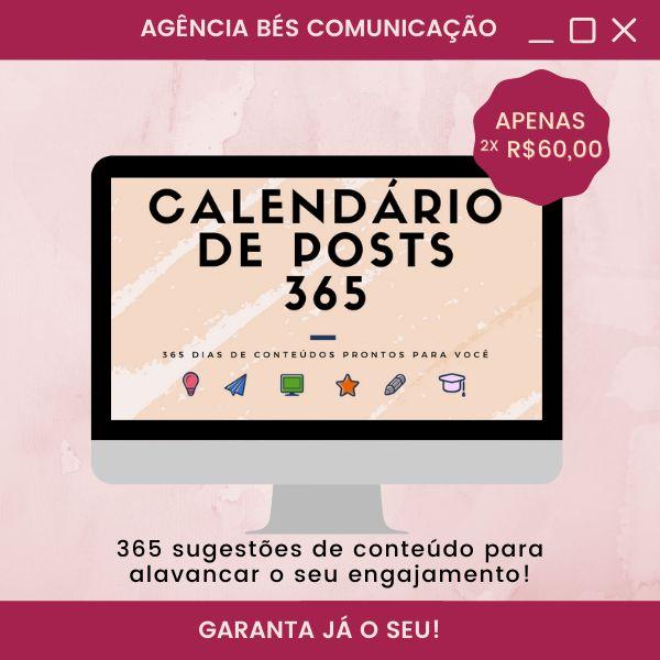 Imagem principal do produto  Calendário de Postagens 365 -  conteúdos inéditos para 365 dias do ano