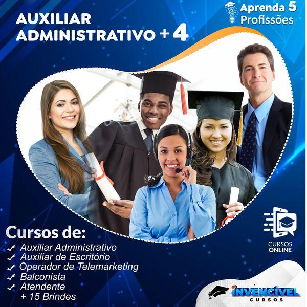 Imagem principal do produto Auxiliar Administrativo + 4 Profissões + 15 Cursos de Brindes