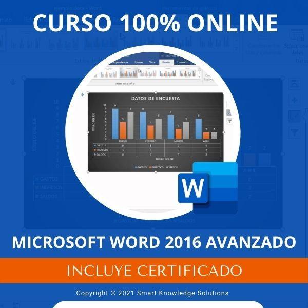Imagem principal do produto Curso completo 100% Online de Microsoft Word 2016 Avanzado incluye libro y certificado