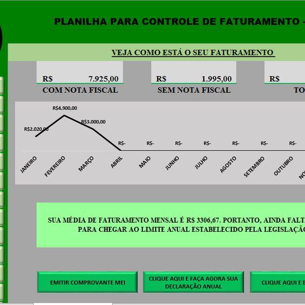 Imagem principal do produto Planilha para controle de faturamento MEI