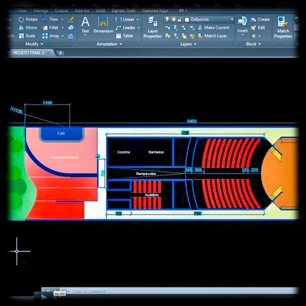 Imagem principal do produto AutoCAD . Escola Marcelo Furtado . Essencial + Comandos intermediários + Práticas avançadas