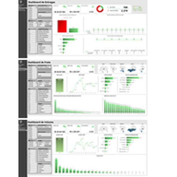 Imagem principal do produto Dashboard Logística 3 em 1 em Excel: Controle de Fretes, Entregas e Volume