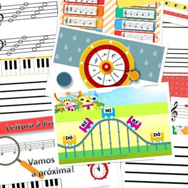 Imagem principal do produto JOGOS PEDAGÓGICOS  EM POWER POINT E PDF PARA TREINAR LEITURA MUSICAL - a partir dos 5 anos