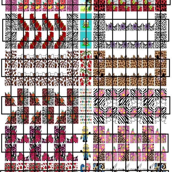 Imagem principal do produto ADESIVOS DE UNHAS - CARTELA MOLDE PARA IMPRIMIR - CARTELA 22