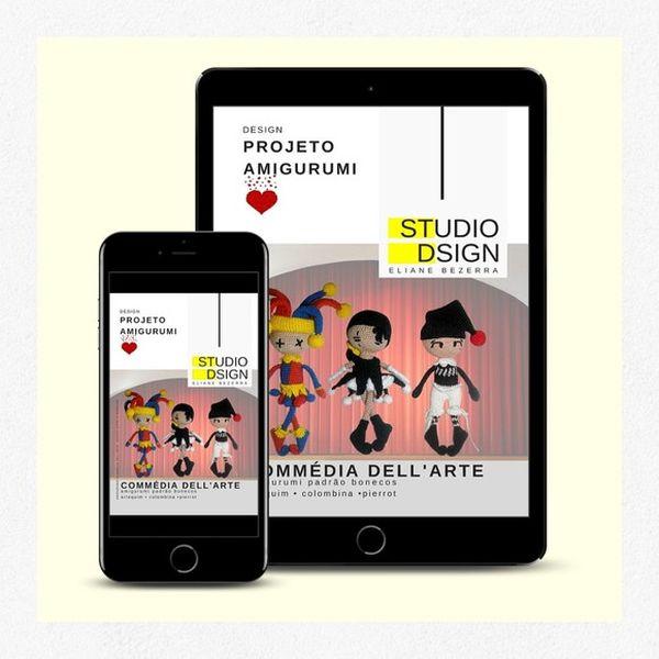 Imagem principal do produto Apostila Digital Amigurumis Commedia Dell'Arte Ed. Especial - Receitas
