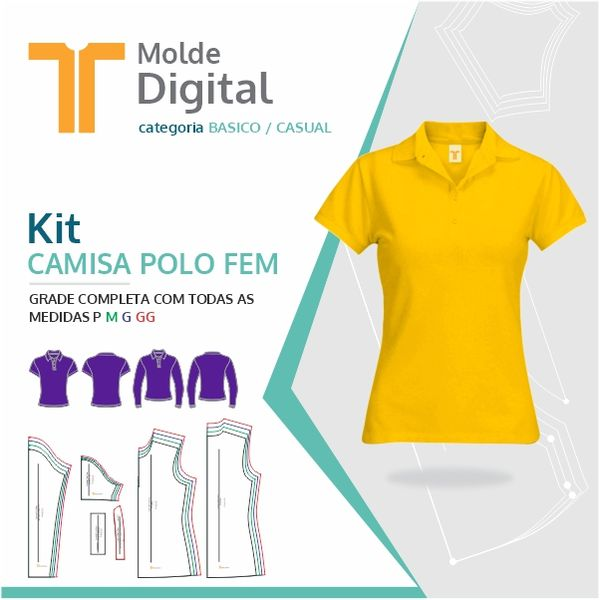 Imagem principal do produto kit molde Digital Camisa Polo Fem.