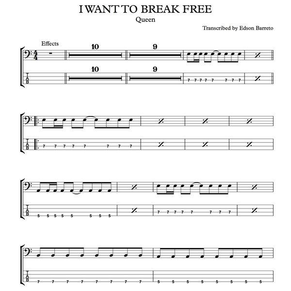 Imagem principal do produto I WANT TO BREAK FREE (Queen) Bass Score & Tab Lesson
