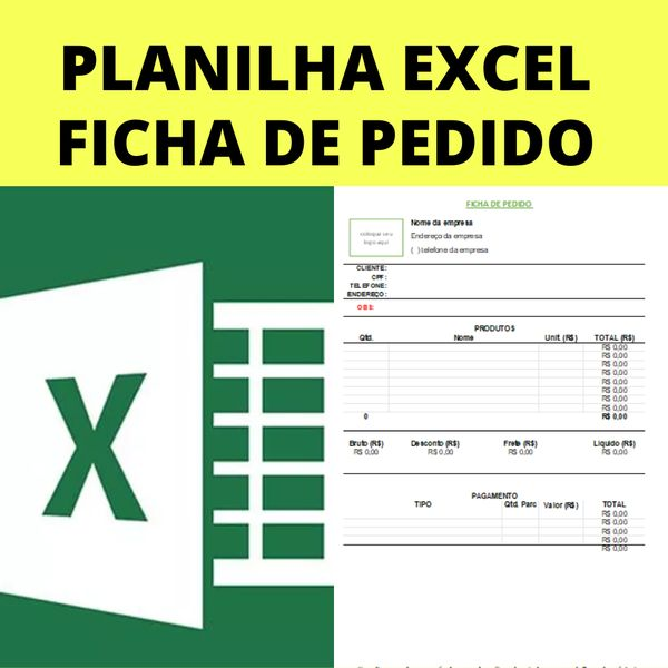 Imagem principal do produto Ficha de Pedido - planilha Excel