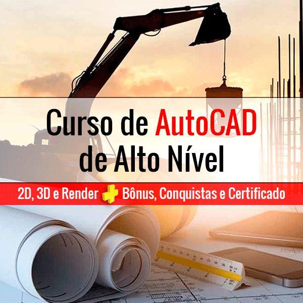 Imagem principal do produto Curso de AutoCAD de Alto Nível 2D, 3D e Render + Bônus, Conquistas e Certificado