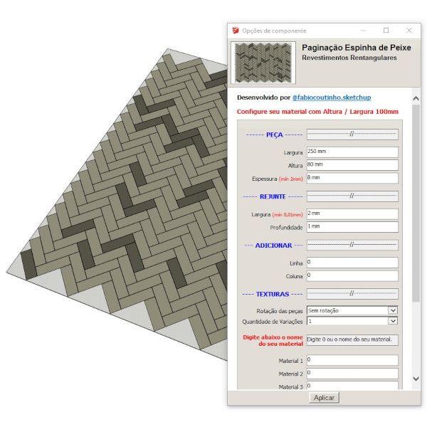Imagem principal do produto Bloco Dinâmico de Paginação Espinha de Peixe para SketchUp