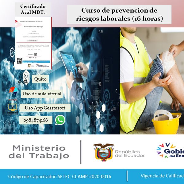 Imagem principal do produto Curso de prevención de riesgos laborales AVAL MDT 16 horas
