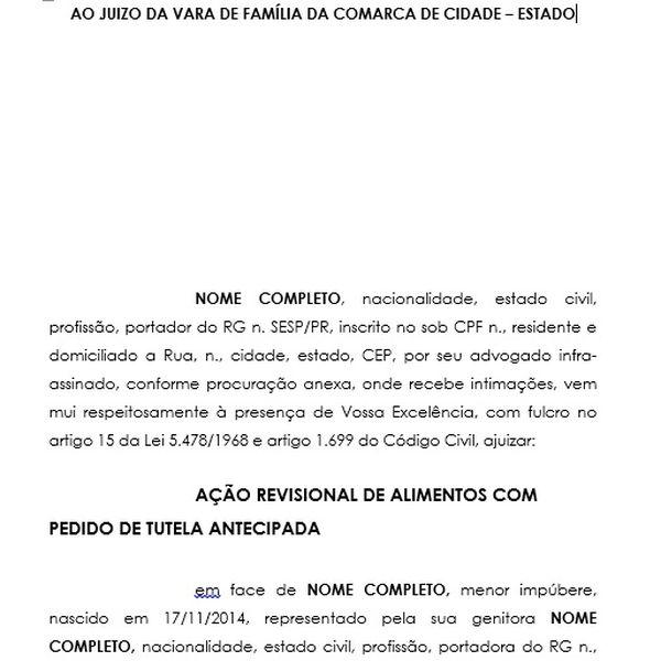 Petição Inicial Ação Revisional De Alimentos Com Pedido De Tutela Antecipada Redução Alimentos Ezequiel Da Silva Learn A New Skill Ebooks Or