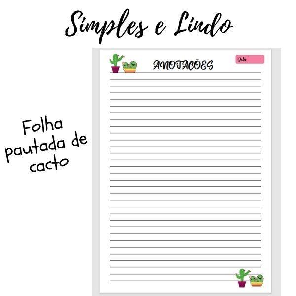 Imagem principal do produto FOLHA PAUTADA DE CACTO
