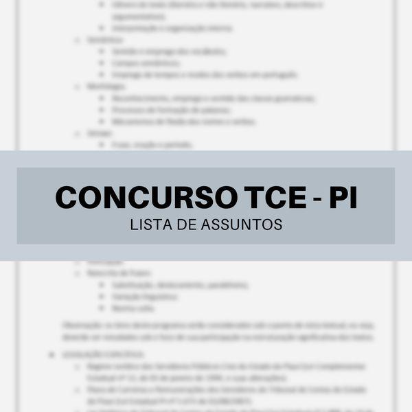 Imagem principal do produto Lista de assuntos para o Concurso TCE