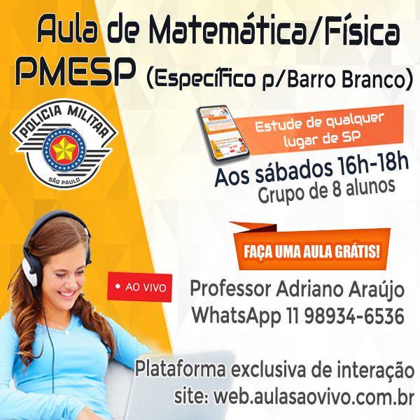 Imagem principal do produto  PMESP Oficial (Barro Branco) - Aula ao vivo de Matemática