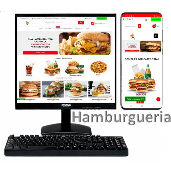Imagem principal do produto Assinatura Loja Hamburgueria Aluguel Aplicativo e Site SaaS Cashback