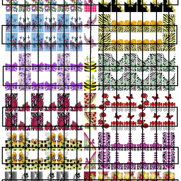 Imagem principal do produto ADESIVOS DE UNHAS - CARTELA MOLDE PARA IMPRIMIR - CARTELA 11