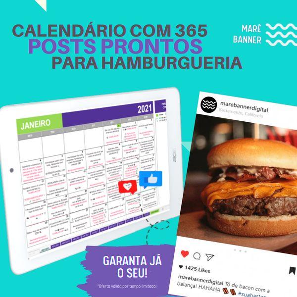 Imagem principal do produto Calendário de Postagens Prontas Para Hamburgueria