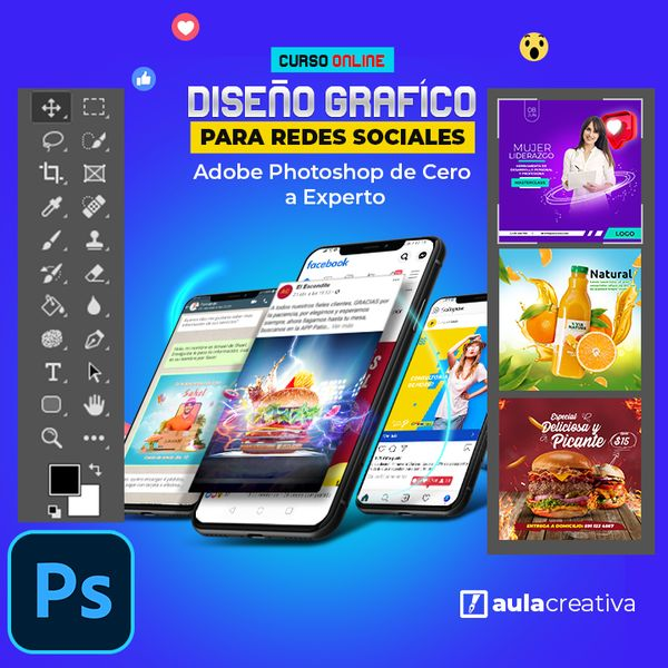 Imagem principal do produto Diseño Gráfico para Redes Sociales - Adobe Photoshop de Principiante a Experto